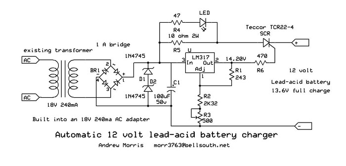 Automatic 12V Lead-Acid Battery Charger by Andrew R. Morris on usb car charger schematic, lead acid cell diagram, charger circuit schematic, nimh charger schematic, solar cell charger schematic, nicad charger schematic, wireless charger schematic, cell phone charger schematic, inverter charger schematic, club car charger schematic,