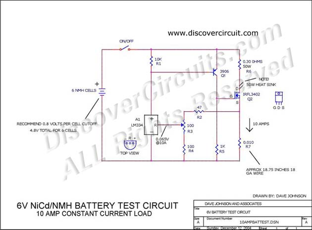 circuit 6v nicd nmh battery test circuit10 amp constant current loadcircuit 6v battery test circuit designed by david a johnson, p e (dec 12