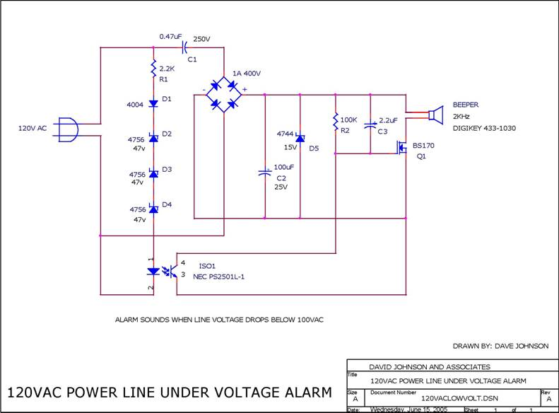 Circuit Low Voltage 120VAC Power Line Alarm Circuit designed by Dave Johnson, P.E. (June 30, 2006)