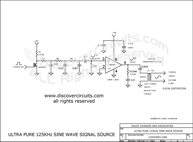 Circuit Sine Wave Signal Source circuit designed by David A. Johnson, P.E. (Feb 11, 2002)