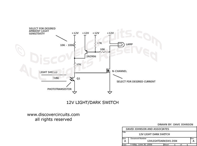 Circuit: 12v Light/Dark Lamp Switch__ Circuit designed by David A ...