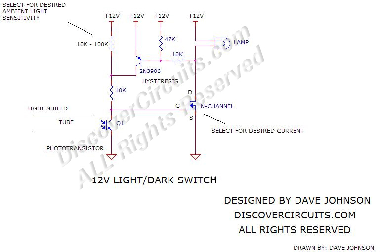 Circuit: 12v Light/Dark Switch__ Circuit designed by David A ...