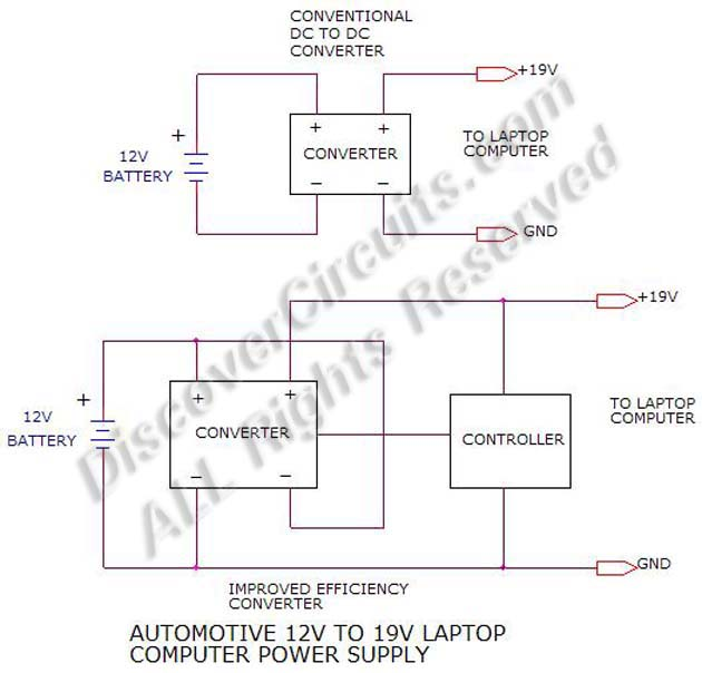 Circuit 12v To 19v Laptop Power Supply Concept Circuits