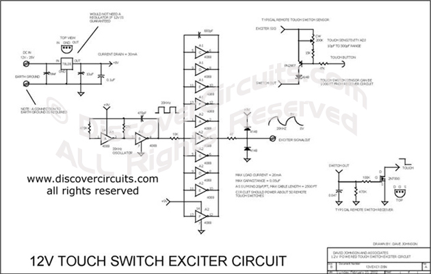 Circuit 12V Touch Switch Exciter Circuit designed by David Johnson, P.E. (feb 10, 2002)