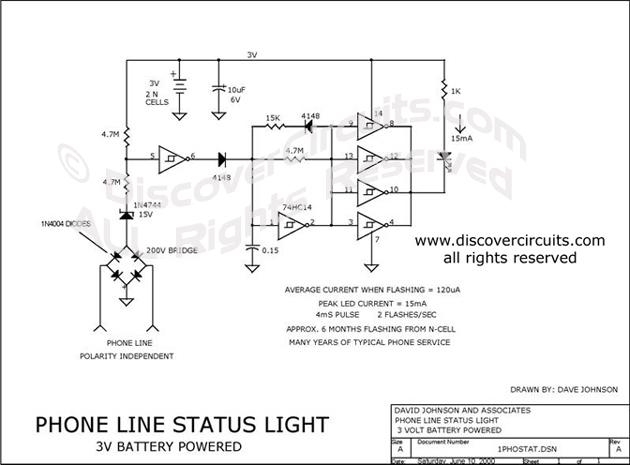 circuit 1 line telephone line status indicator circuits designed rh discovercircuits com phone line security camera feedback phone line simulator circuit