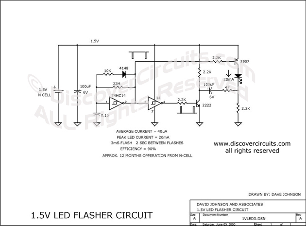 Circuit 1.5V LED Flasher Circuit designed by David Johnson, P.E.