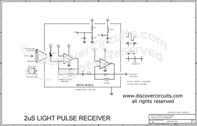 Circuit 2uS Light Pulse Receiver designed by David A. Johnson, P.E.