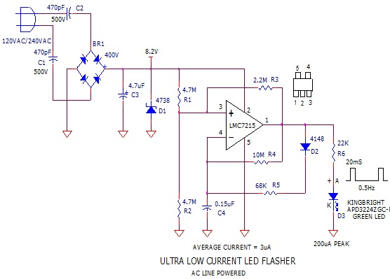 AC Line Powered LED Flasher 3 circuit designed by David Johnson