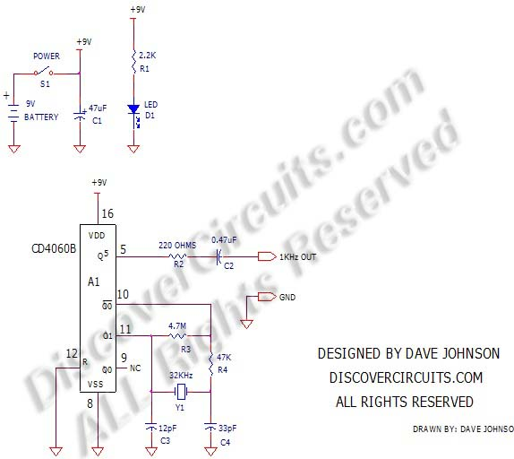 circuit   359crystal controlled 1khz signal generator