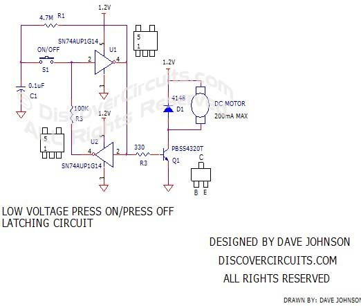 Low Voltate Press On/Off Latching Circuitdesigned by David A. Johnson, P.E.