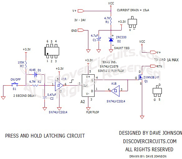 Press and Hold Latching Circuit designed by Dave Johnson