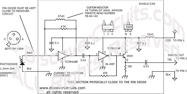 Circuit 10MHz20MHz LIGHT RECEIVER designed by David A. Johnson, P.E. (June 13, 2000)
