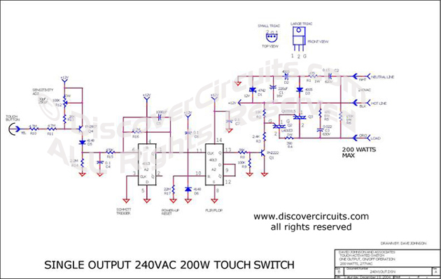 Circuit Single Output240VAC 200W Touch Switch designed by Dave Johnson, P.E. (Dec 18, 2004)