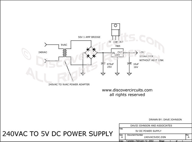 circuit: 240vac to 5vdc power supply__ circuit designed by ... ac schematic wiring schematic 120vac schematic wiring