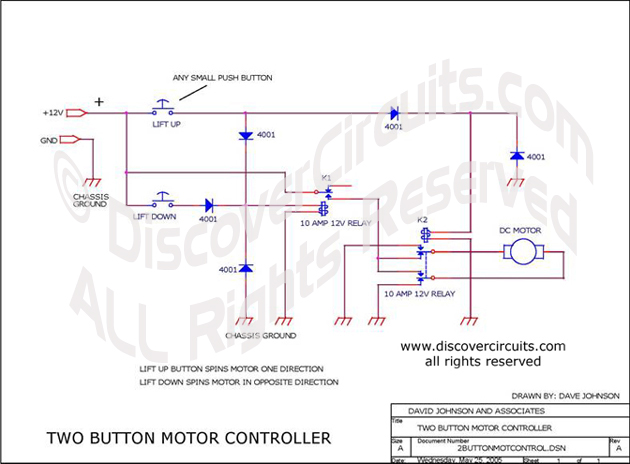 Circuit Two Button Motor Controller designed by David A. Johnson, P.E. (May 25, 2005)