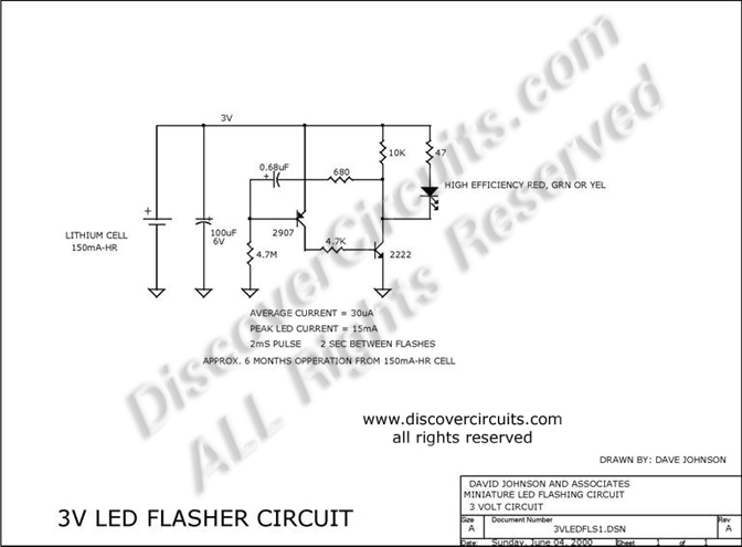 Circuit 3V LED Flasher Circuit designed by Dave Johnson, P.E. (June 4, 2000)