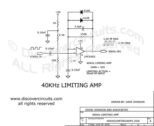 Circuit 40KHz Limiting Amp DiscoverCircuits.com  --   Hobby Corner (June 30, 2006)