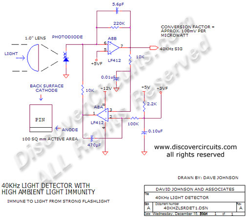 Circuit 40Hz Light Detector with High Ambient Light Immunity designed by David A. Johnson, P.E. (Dec 15, 2004)
