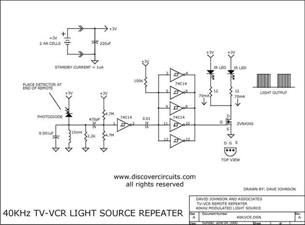 Circuit 40KHz TV-VCR Light Source Repeater designed by David A. Johnson, P.E. (June 4, 2000)