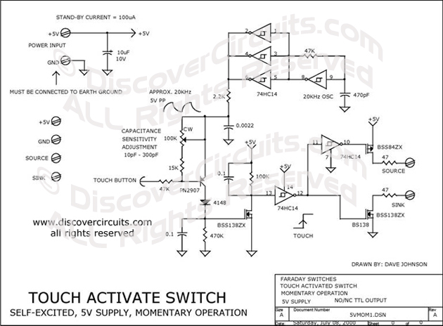 Circuit Touch Activate Switch designed by David A. Johnson, P.E. (July 8, 2000)