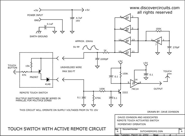 Circuit Touch Switch with Active Remote Circuit designed by David Johnson, P.E. (March 12, 2002)