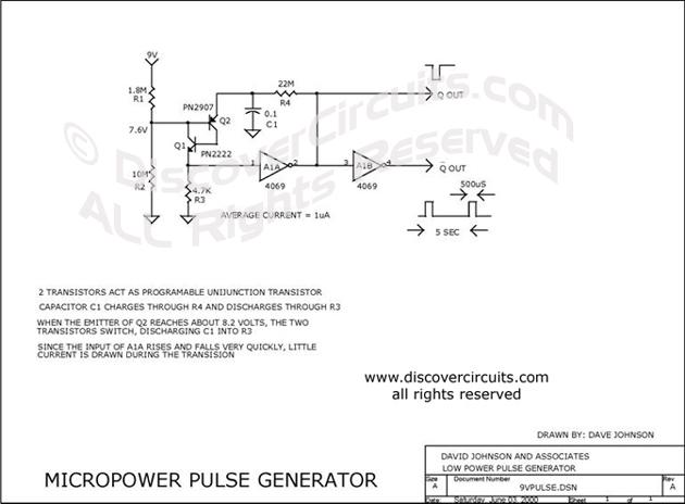 Circuit micropower pulse generator electronic circuits designed by circuit micropower pulse generator electronic circuits designed by david a johnson pe swarovskicordoba Image collections