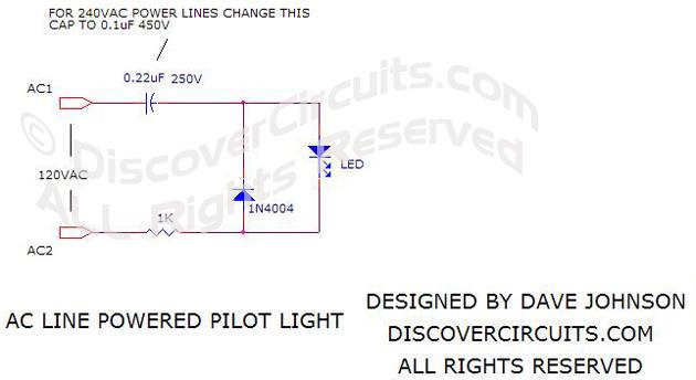 Circuit: AC Line Powered LED Pilot Light __ Circuit designed by David A.  Johnson, P.E.Discover Circuits