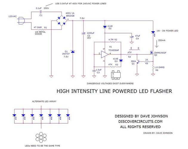 Awe Inspiring Circuit High Intensity Line Powered Led Flasher Wiring Cloud Xeiraioscosaoduqqnet