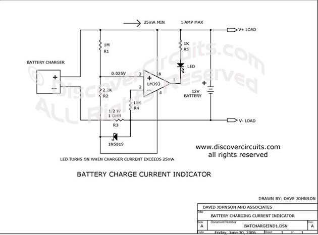 Circuit Battery Charge Current Indicator Circuits designed by David Johnson, P.E. (June 30, 2006)