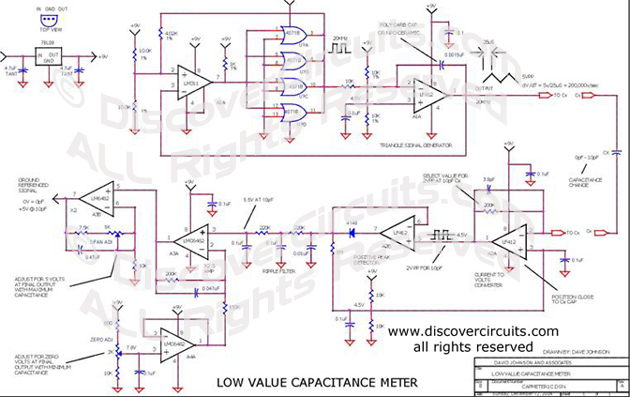 Circuit Low Value Capacitance Meter designed by David Johnson, P.E.