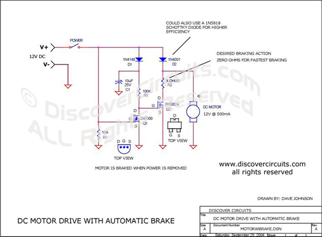 circuit automatic dc motor brake hobby corner circuitscircuit dc motor drive with automatic brake