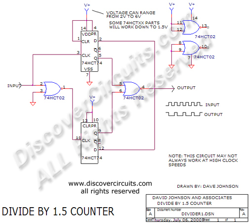 Circuit Divide by 1.5 Counter Circuit designed David Johnson, P.E. (July 6, 2000)