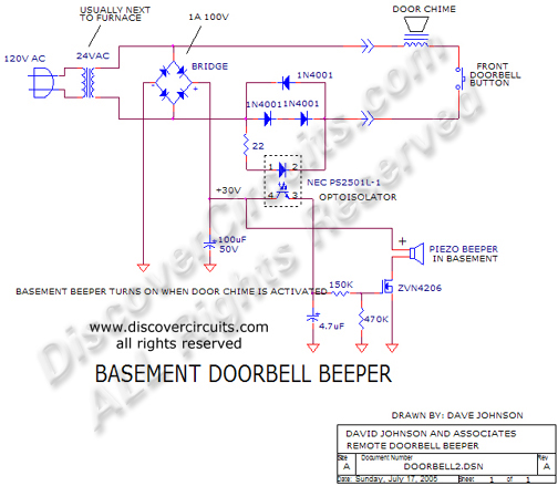 Circuit Basement Doorbell Beeper Circuit designed by Dave Johnson, P.E. (July 17, 2005)