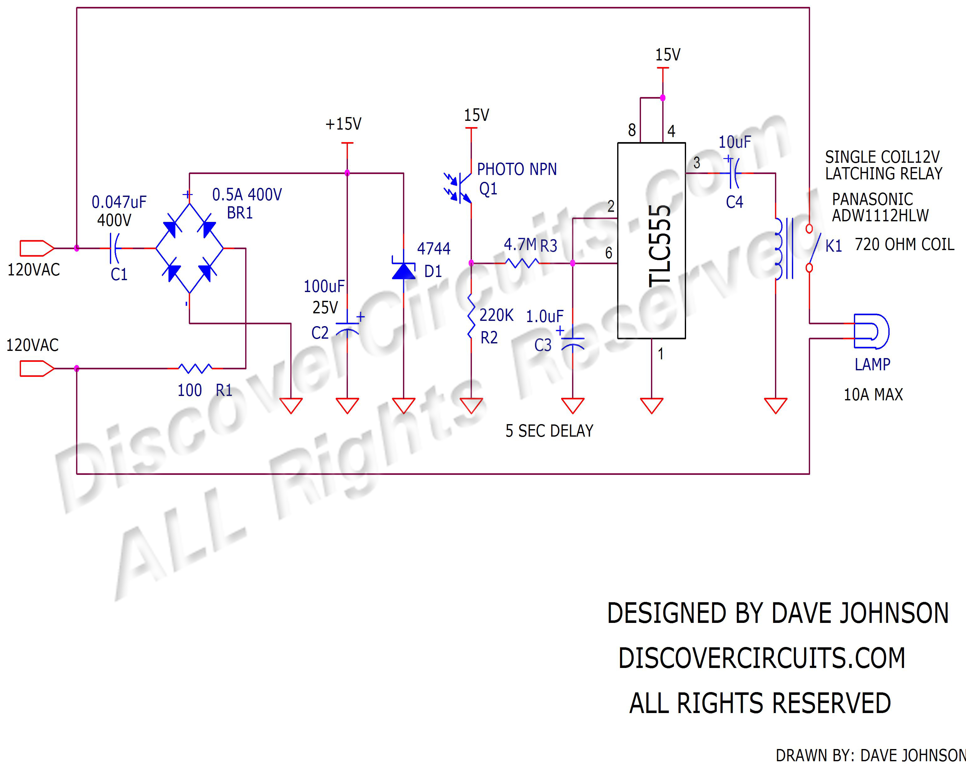 Dusk To Dawn Latching Relay Circuit Designed By David A Johnson Wiring Diagram For Timer Off Delay On Lights Click Drawing Below View Pdf Version Of Schematic