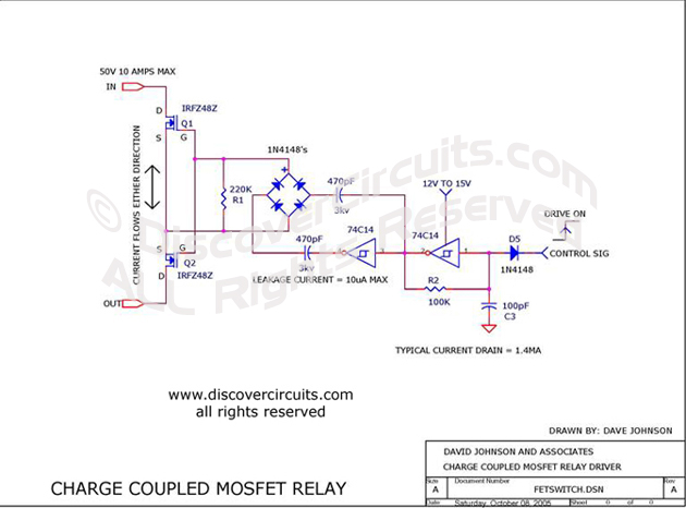 Circuit Charge Coupled MOSFET Relay designed by Dave Johnson, P.E. (Oct 8, 2005)