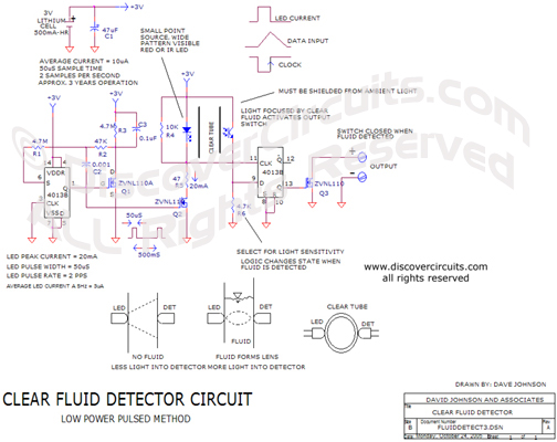 Circuit Clear Fluid Detector Circuit designed by David Johnson, P.E. (Oct 24, 2005)