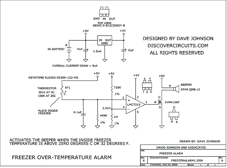 circuit freezer over temperature alarm circuit designed by david rh discovercircuits com
