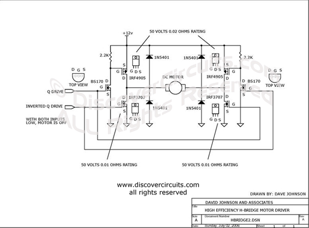 Circuit Low Voltage H-bridge Circuit designed by David A. Johnson, P.E. (July 2, 2006)