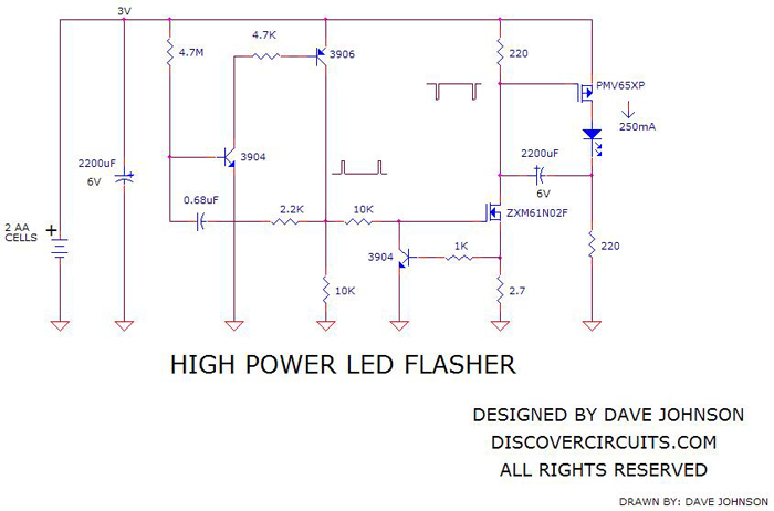 SchematicHigh Power LED Flasherdesigned by David A. Johnson, P.E.