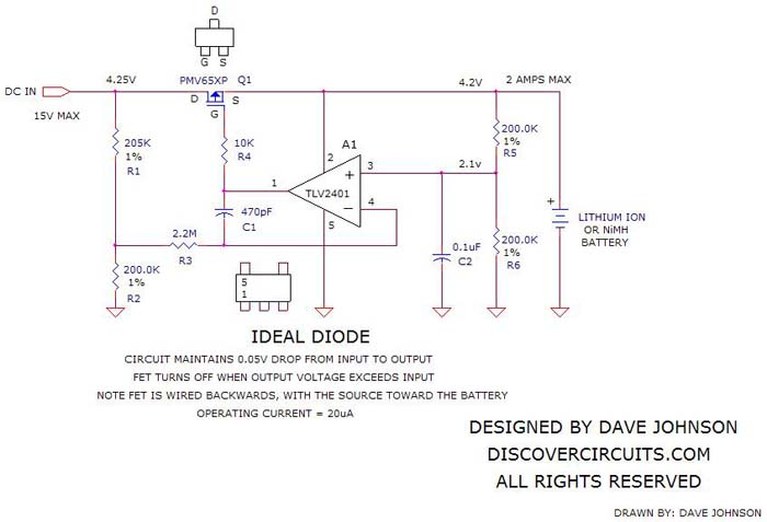 Circuit: forms Ideal Diode Function