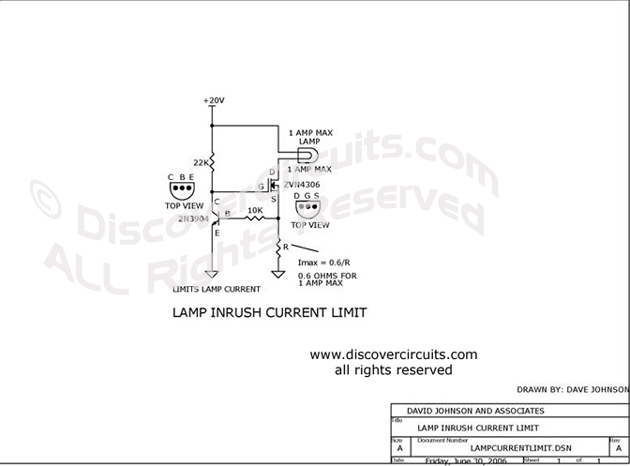 Circuit Lamp Inrush Current Limit Circuit designed by Dave Johnson, P.E. (June 30, 2006)