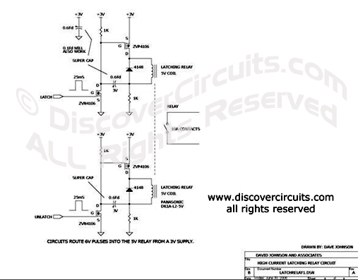 Circuit Low Voltage Latching Relay Driver designed by David A. Johnson, P.E.