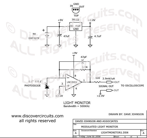Circuit Light Monitor Circuit designed by Dave Johnson, P.E. (June 30, 2006)