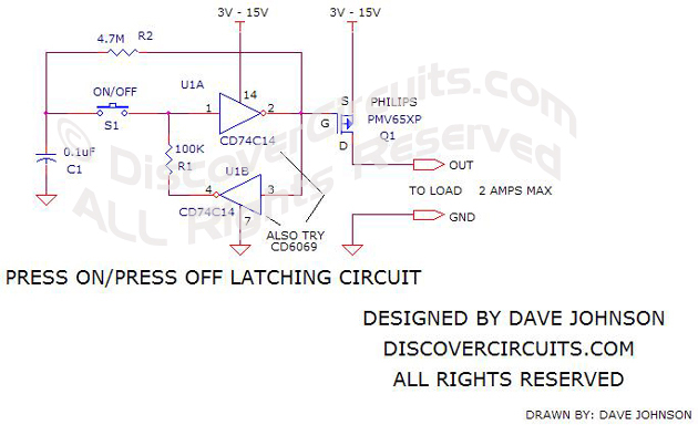 circuit on off latch circuit rh discovercircuits com Flip Flop D Latch and Gate Circuit