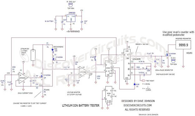 Battery Tester Schematic : Hobby circuit battery amp hour capacity tester