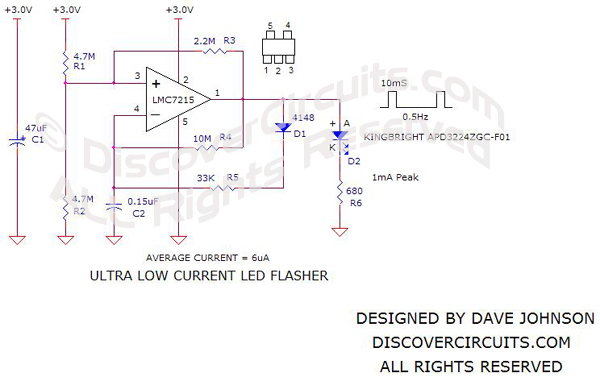 Circuit - Ultra Low Current LED Flasher - Dave Johnson