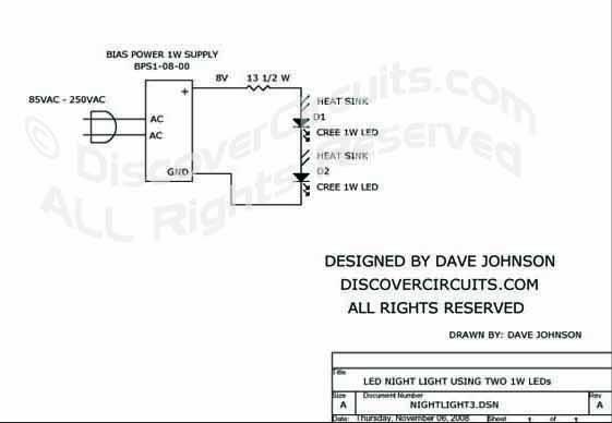 circuit white led night light designed by david johnson rh discovercircuits com LED Flashlight Circuit LED Circuit Calculator