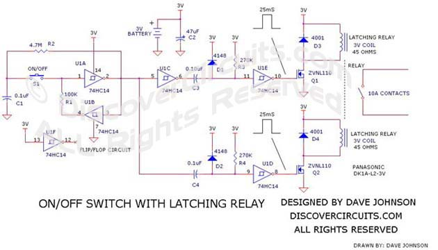 Circuit 393OnOff Switch with Latching Relay Circuits designed