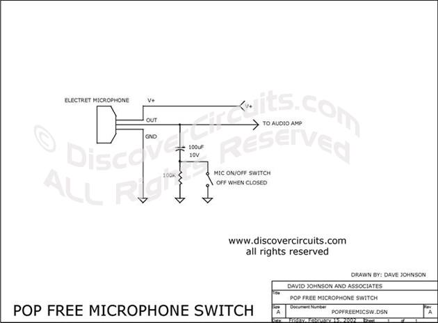 Circuit Pop Free Microphone Switch designed by Dave Johnson, P.E. (Feb 15, 2002)