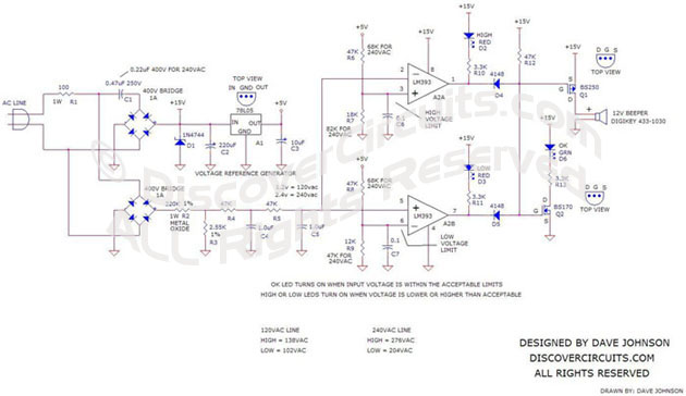 circuit  ac line under  over voltage alarm